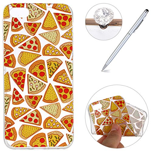 Felfy Housse iPhone 5S,iPhone 5S Coque Transparente Souple,iPhone SE Case Bumper Transparent en Silicone Ultra Slim Mince en Caoutchouc Souple Gel Coque Coquille Couverture Papillon Pastèque Citron Mo Pizza