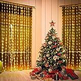 Vorhang Licht, 3*3m | 300 LEDs Licht Vorhang LED Lichterkette Leuchtvorhang Warmweiß | 8 Modi mit USB für Hochzeit Party Haus Garten Schlafzimmer Innen-und Außenbereich Wanddekorationen, Warmweiß