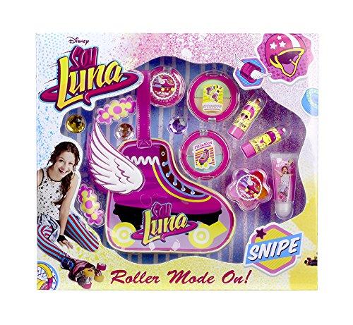 Disney Soy Luna Beauty- und Schmuck-Set (Lippenstift, Lipgloss, Lidschatten, Haarclips, Ringe) inkl. Make Up-Tasche in Rollschuh-Form