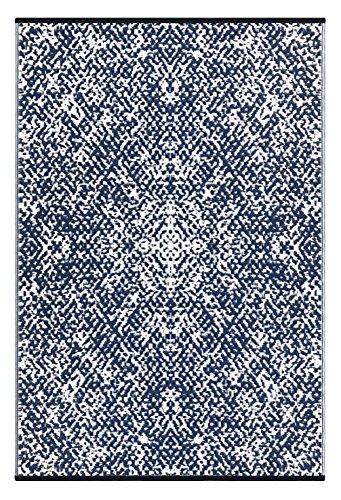 Green Decor Rio Teppich, für den Außenbereich, Kunststoff, leicht, wendbar , plastik, Navy / Weiß, 120 x 180 cm (Bettwäsche Bereich)