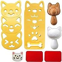 Gobesty Moule de boule de riz, 2 Set Boules de sushi Fabricant, Moule de riz Bento Modèle de chien chat dessin animé…