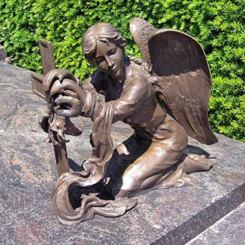 Thermobrass H.Packmor GmbH Bronzeskulptur sitzender Engel mit Kreuz Dekorationsfigur Grabdekoration Braun