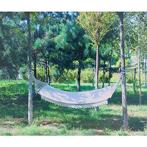 Joyfitness Einzelne weiße Baumwollsegeltuch-eingesäumte Spitze mit Freizeit-Hängematten-Fotografie-Hochzeits-Foto-Hängematte des hölzernen Pfostens im Freien