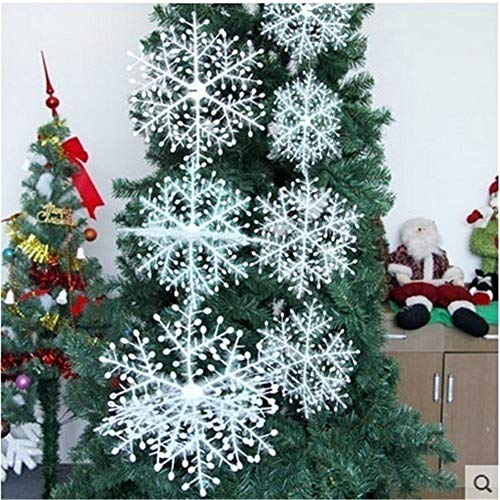 EisEyen Schneeflocken Weihnachten Deko für Weihnachtsbaum Glitzer Weiß Weihnachtsbaumschmuck Stern Schnee Weihnachtsschmuck Hänger 8/11/15/18/22/28CM -