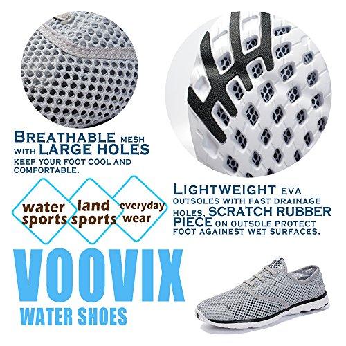 Voovix Herren Aquaschuhe Atmungsaktives Mesh Schnell Trocknend Wasserschuhe Grau
