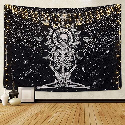 Dremisland Schädel Wandteppich Meditation Skeleton Tapisserie Mond Eclipse Wandbehang Tuch Wandtuch Schwarz und Weiß Sterne Sternenhimmel Tapestry für Wohnzimmer Schlafzimmer (Schädel, L/148X200 cm)