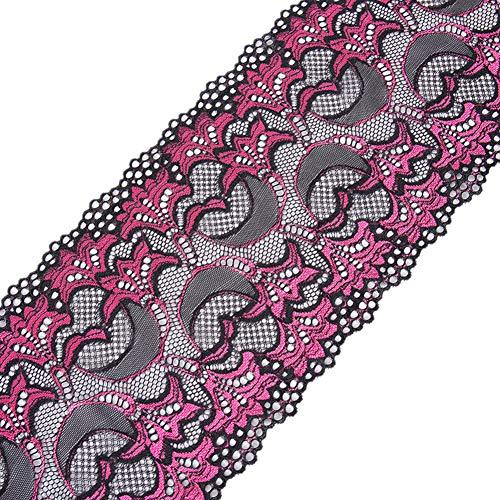 Ruban de dentelle métallique extensible en élasthanne et dentelle florale - Tissu africain élastique pour accessoires de cheveux, couture, travaux manuels, décorations de fête 18cm x 5 yards rose