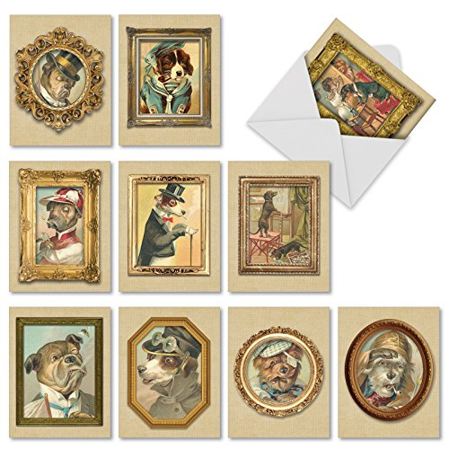 Pup Portraits all-occasion Witz Grußkarte 10 Assorted Thank You Cards (M1738TY) 10 Assorted Thank You Cards (M1738TY)
