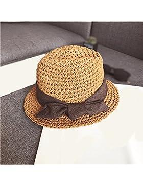 LVLIDAN Sombrero para el sol del verano Dama SolAnti-Sol Playa pescador sombrero de paja plegable coffeecolor...