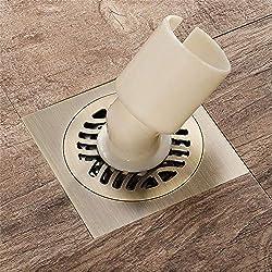 Wenwen Siphon de Sol avec Couvercle Amovible, évier 100 x 100 mm, Drain de Douche carré en cuivre, Filtre à déchets, Salle de Bains Toilette buanderie Jardin Cuisine extérieure