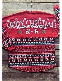 Vin beauty TOPmountain Joyeux Noël Chemises de Doublure T Shirt Hauts  Décontractés Épisser Chemise pour Femme fa9328043a7e