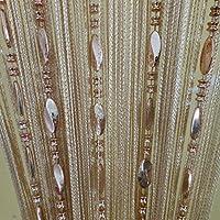 Cortina Tangpan divisora para puerta con flecos y borlas, tela, champán, 100 x 200 cm