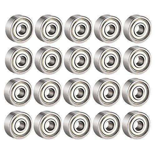 608ZZ Kugellager, 20 Stück 608zz Metall Double Shielded doppelt geschirmte Miniatur-Rillen Skateboard-Kugellager (8 mm x 22 mm x 7 mm)