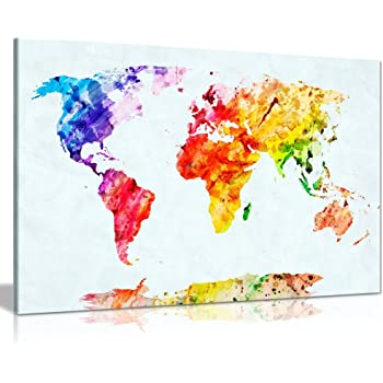 World Map For Kids Bedroom Box Framed CANVAS ART PRINT A0 A1 A2 A3 A4
