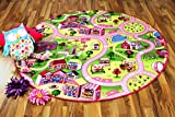 Kinder Spiel Teppich Girls Rosa Village Rund in 7 Größen