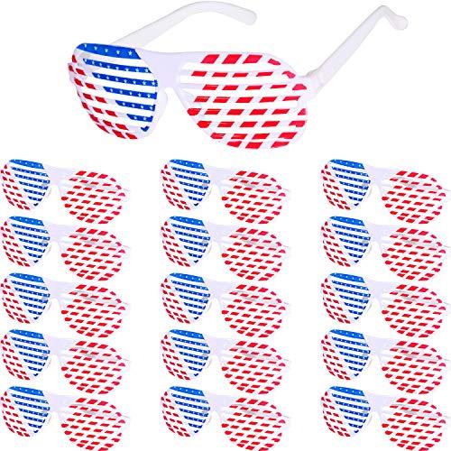 Yaomiao 16 Stücke Amerikanische Flagge Sonnenbrille 4. Juli Rot Weiß Blau Patriotische Shutter Brille Patriotische Shade Brille für Unabhängigkeitstag Requisiten Zubehör