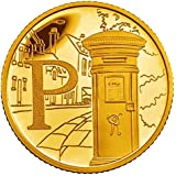 24K Gold Plated 2018 Great British A-Z Coin Hunt 10p Ten Pence Brilliant Uncirculated Coin with Capsule Coin Holder in Pouch Wallet Letter W World Wide Web