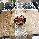 10 STK Jute Tischläufer mit Spitze 30 cm breit Sackleinen Vintage Tischband für rustikale Hochzeit Fest Party Feier Bevorzugte Dekorationen - 6