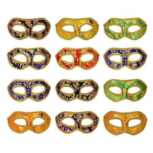 Achort Mascaras Venecianas Mujer Hombre, 12 Piezas 6 Colores de Máscara Chapada Dorada Unisex Mascarada Máscaras, Disfraces de Carnaval Máscaras de Fiesta venecianas