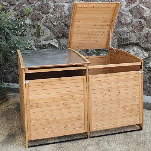 Mülltonnenbox Holz 240 L Gartenbox Mülltonnenverkleidung Mülltonne (Einzelbox + 2xAnbaubox) - 7