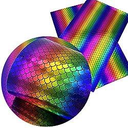 BULIAOHAO telas para patchwork Accesorios de tela 20 * 34 cm Rainbow Fish Scales Stripe Vinyl Faux Tela de cuero sintética Diy Prenda Nudo Bow Bolsas 1062157001