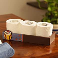 ExclusiveLane 'Owl Motif' Tissue Roll Holder Tray (3 Rolls) -Tissue Roll Holder for Kitchen Dining Table Bathroom Tissue Roll Stand Box Wooden Stylish