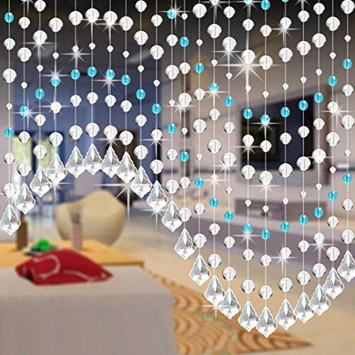 Vorhänge,Kristall Kette Türvorhang Fadengardine Vorhang Raumteiler Perlenvorhang Klar Durchsichtig Hochzeit Deko Moginp (C)