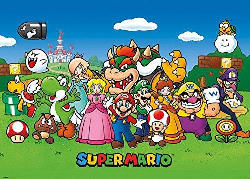 1art1 87491 Super Mario - Prinzessin Peach, Yoshi, Luigi XXL Poster 136 x 96 cm (Luigi Und Prinzessin Peach)