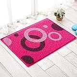 MKSFY Rutschfeste Absorbierende Bodenmatte Tür Matte Draht PVC Teppich Matte für Badezimmer Küche Studie Schlafzimmer Korridor Eingangstür Wohnzimmer Rot, 45 cm * 75 cm