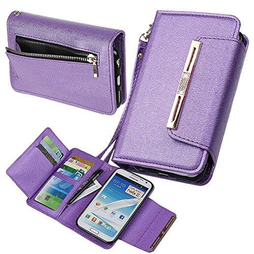 Xidan Case for Samsung Note2, Premium Pelle PU Magnetica Rimovibile Custodia Portafoglio con Bottone Chiusura in Cristallo Bling per Samsung Galaxy Note2 N7100