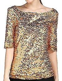 ba227a96251b Damen Pailletten T-Shirt Rundhals Halbe Hülse Hemd Tops Mode Elegant Shirts  Pullover Lose Freizeit