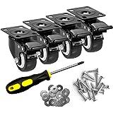 HAUSEE 4 zwenkwielen met rem, 50 mm, zwenkwielen voor meubels, transportwielen met schroevendraaier, schroef, sluitring, meub