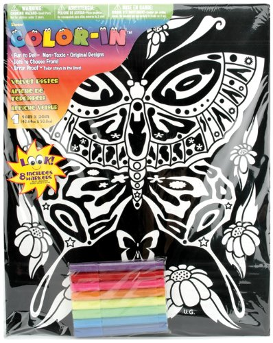 Darice verschiedenen Ausmalbare Samt Poster 16x 20-inch-Butterfly -