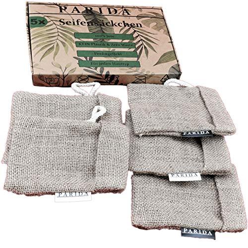 BEFRISTETES ANGEBOT[5x] Jute Seifensäckchen | Seifensack mit Baumwoll-Labels | Seifenbeutel & Seifennetz für Seifen und Seifenreste |inkl. eBook