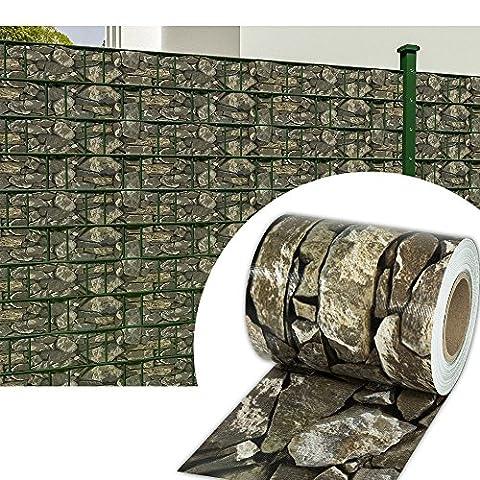 HG® 65mx19cm Sichtschutzfolie Doppelstabmattenzaun Streifen Reflexionsarm für den Gartenzaun oder Balkon inkl. Befestigungsclips
