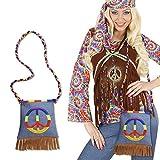 Hippie Tasche Peace Hippietasche 70er Jahre Fransentasche Flower Power Beutel 60er Jahre Damentasche Retro Mottoparty Stofftasche Karneval Kostüm Accessoires Damen