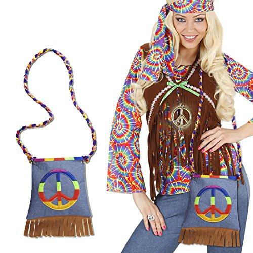 NET TOYS Hippie Tasche Peace Hippietasche 70er Jahre Fransentasche Flower Power Beutel 60er Jahre Damentasche Retro Mottoparty Stofftasche Karneval Kostüm Accessoires Damen