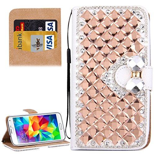 Für Samsung Galaxy S5 / G900 Diamant verkrustete Bowknot Pattern Horizontale Flip Leder Cover Case mit magnetischen Wölbung & Card Slots & Holder & Lanyard by diebelleu ( Color : Silver ) Rose Gold