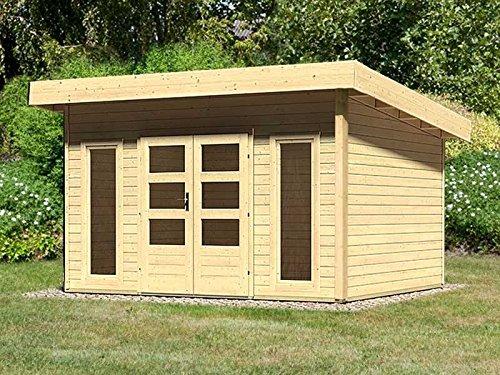 Karibu Gartenhaus Lucca 2 naturbelassen 38 mm mit selbstklebender Dachbahn
