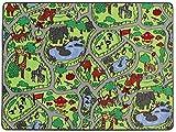 Spielteppich Kinderteppich ZOO Safari Straßenteppich - 140 x 200 cm, Spielmatte, Anti-Schmutz-Schicht, Kinderzimmer-Teppich mit Straßen und Tieren für Jungen & Mädchen