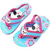 Coralup Little Kids Beach Slippers Elastic Backstrap Flip Flops Lightweight EVA (Multicolor,UK 6.5 Child to 13 Child)