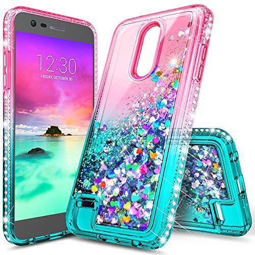 Schutzhülle für LG K30, LG Phoenix Plus, LG Premier Pro LTE, Marmor-Design, durchsichtig, TPU, weiche Silikonhülle, für LG K30/LG K10 2018, Gradient Pink/Aqua