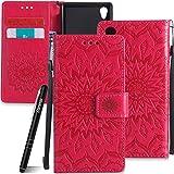 Schutzhülle für Sony Xperia M4 Aqua Rot,Slynmax Mandala Blume Hülle Wallet Case Handyhülle für Sony Xperia M4 Aqua Tasche Klapphülle Flip Cover Ledertasche Brieftasche Lederhülle Handytasche,Flower