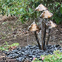 Mushroom Garden Water Feature with Warm White LED's