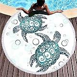 Rundes Strandtuch, Schildkröte, die ringsum eingesäumtes Badetuch, bewegliche Picknickdecke, Art und Weiseyogamatte, Sporttuch EIN Sonnenbad nimmt