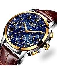 Montres Hommes, d'affaires Luxe Montres bracelet en cuir pour homme Étanche à quartz analogique Montre Décontractée Lumineux Chronographe Sport Montre Bleu Cadran Montres bracelet pour femme