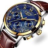 LIGE Uhr Herren Quarz Armbanduhr männer mit Braun lederarmband Uhr Unisex Wasserdicht Sportuhr Dat Gold Blau