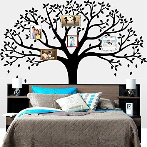 MAFENT grande albero foto di famiglia decorazione da parete adesivo da parete ramo di un albero famiglia come rami su un albero decorazioni a parete per soggiorno nero - Family Tree Parete