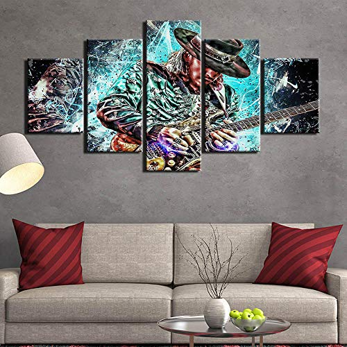 Yyjyxd Wohnkultur 5 Stück gedruckt abstrakte Gitarre MasterLeinwand Wandkunst Bild für Wohnzimmer Poster und Drucke-16x24/32/40inch,With frame