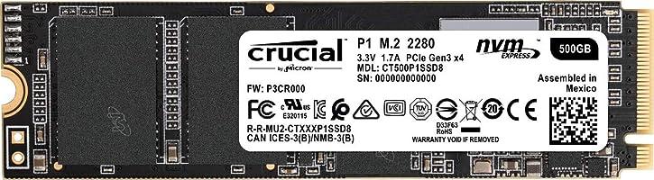 Crucial P1 CT500P1SSD8 - Disco Duro sólido Interno SSD de 500 GB (3D NAND, NVMe, PCIe, M.2)